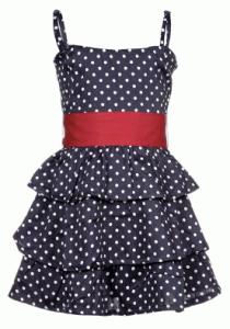 Mädchenvolantkleid mit weißen Punkten