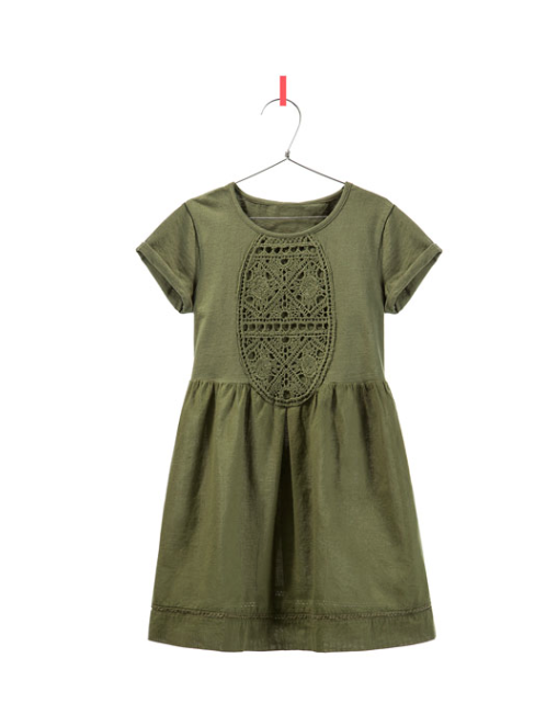 Zara Kinderkleid Oliv