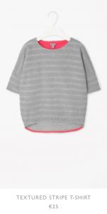 Cos Graues T-Shirt mit Neonpinken Details