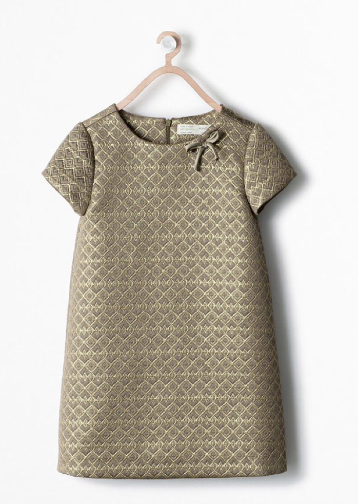 Zara Goldenes Jacquard Kleid 27,95€